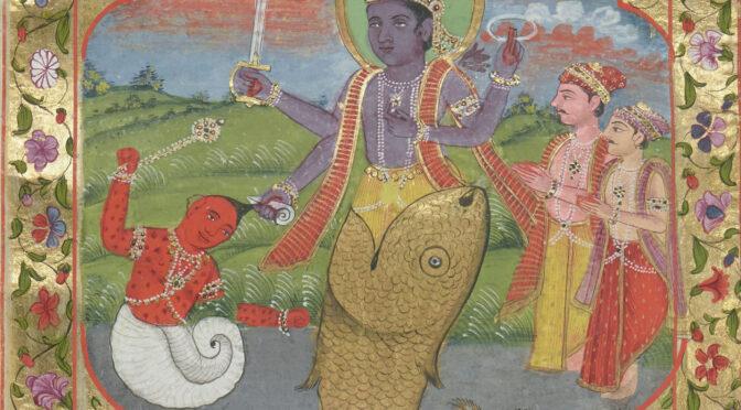 Vishnou et Krishna sur la voie de l'enluminure