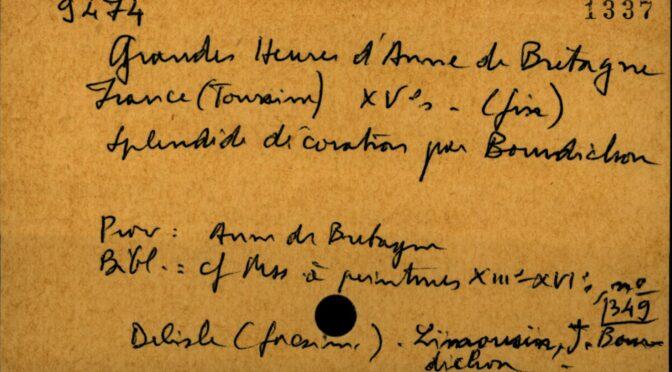Mise en ligne dans Archives et Manuscrits du fichier Avril sur les manuscrits enluminés de la BnF